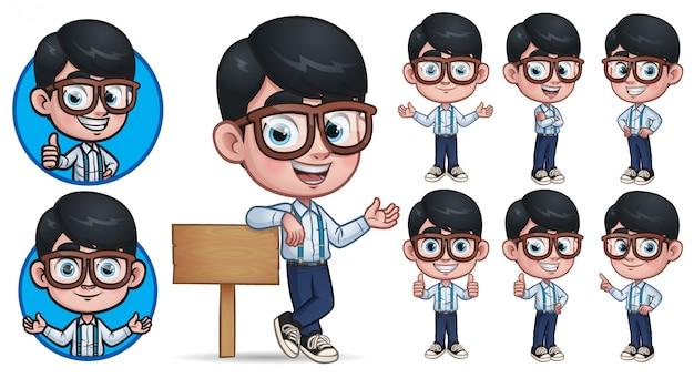 Coleção de personagem geek boy mascote