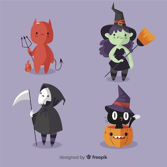 Coleção de personagem mal halloween plana