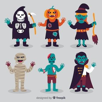 Coleção de personagem plana de halloween