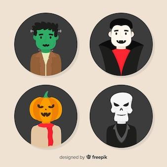 Coleção de personagem plana halloween