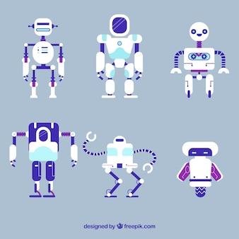 Coleção de personagem robô de design plano