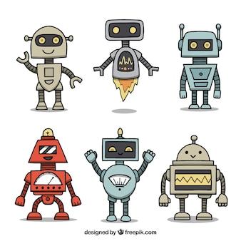 Coleção de personagem robô desenhada a mão