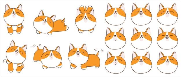 Coleção de personagem shiba de cão bonito dos desenhos animados.