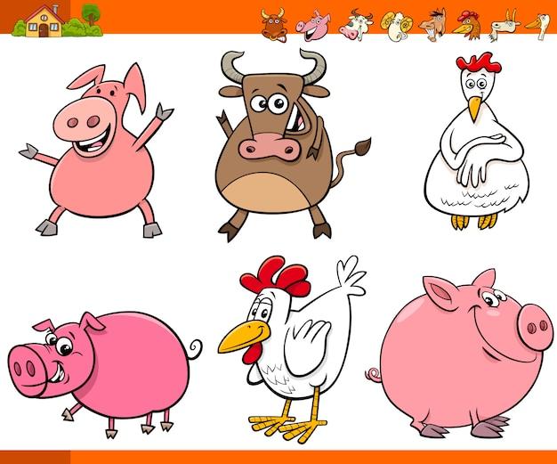 Coleção de personagens animais de fazenda dos desenhos animados
