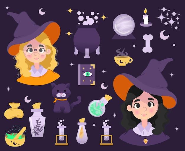 Coleção de personagens chibi fofos para o dia das bruxas