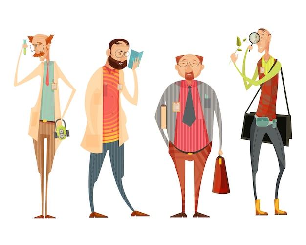 Coleção de personagens com o diretor da escola e professores de biologia, química, literatura estilo cartoon retrô isolado ilustração vetorial