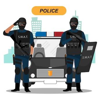 Coleção de personagens da equipe de polícia
