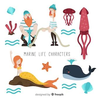Coleção de personagens da vida marinha
