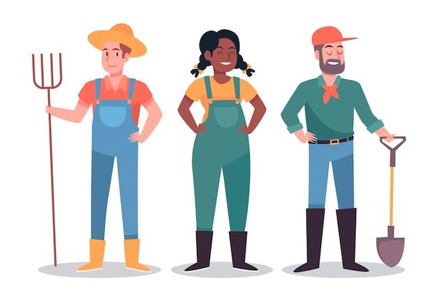 Coleção de personagens de agricultor