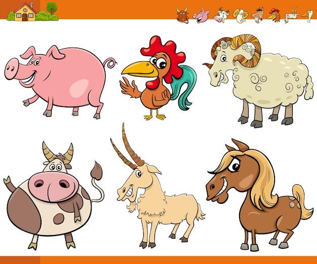 Coleção de personagens de animais de fazenda de desenhos animados