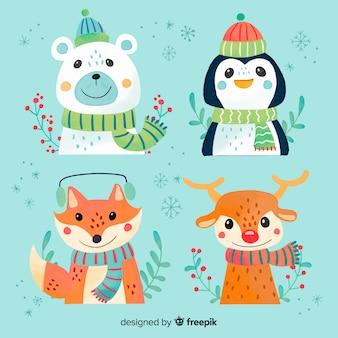 Coleção de personagens de animais de natal em aquarela