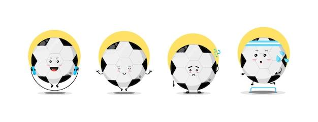 Coleção de personagens de bola de futebol fofa