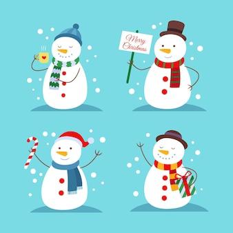 Coleção de personagens de boneco de neve de design plano