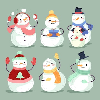 Coleção de personagens de boneco de neve desenhada à mão