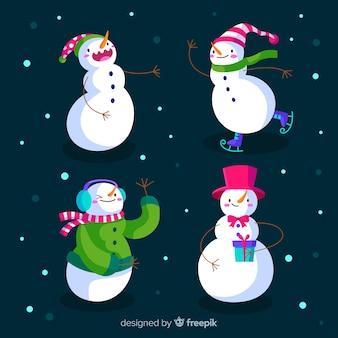 Coleção de personagens de boneco de neve em design plano