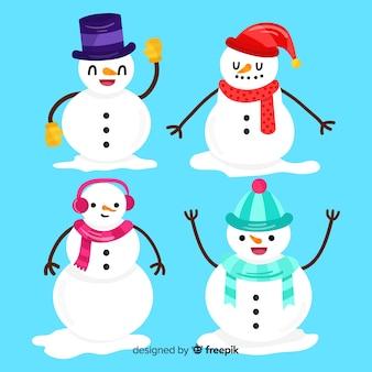 Coleção de personagens de boneco de neve plana