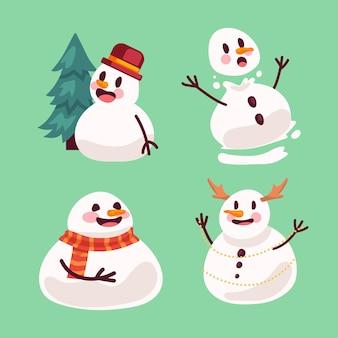 Coleção de personagens de boneco de neve plano
