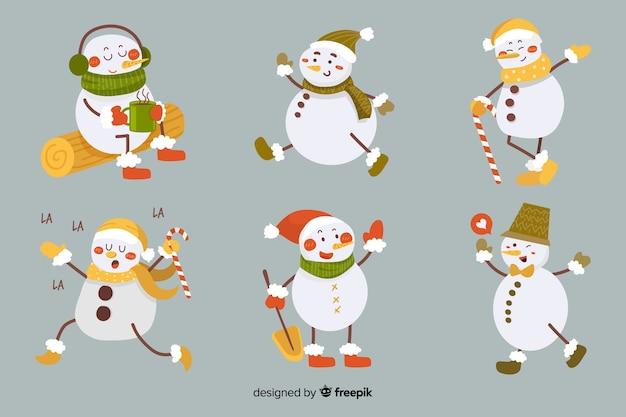 Coleção de personagens de boneco de neve vintage
