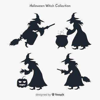 Coleção de personagens de bruxa com estilo de silhueta
