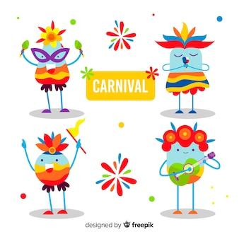 Coleção de personagens de carnaval colorido