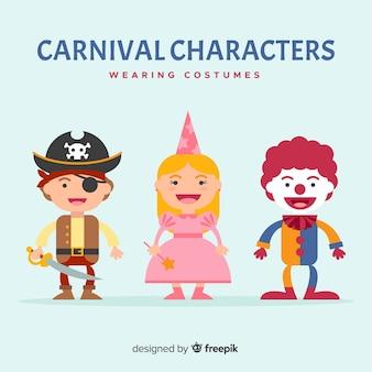 Coleção de personagens de carnaval para crianças