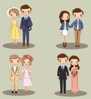 Coleção de personagens de casal fofo