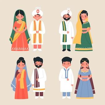 Coleção de personagens de casamento indiano