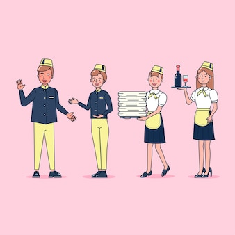 Coleção de personagens de catering grande conjunto ilustração plana isolada vestindo uniforme profissional, estilo cartoon sobre o tema do hotel
