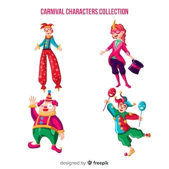 Coleção de personagens de circo de carnaval