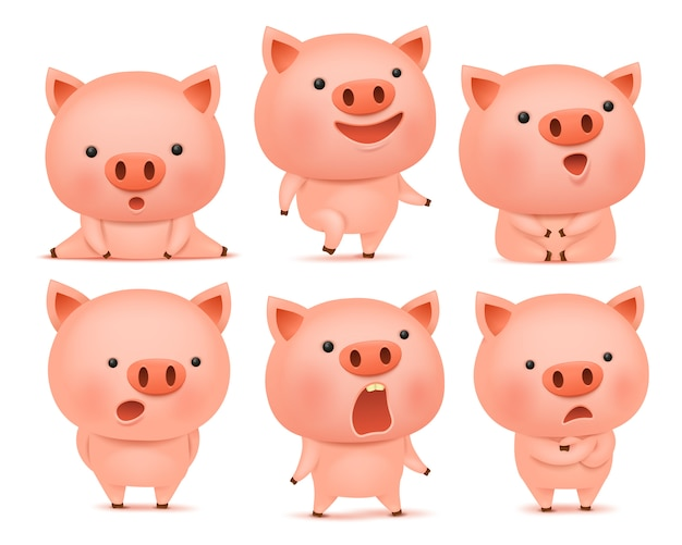 Coleção de personagens de cmoticon porco engraçado em emoções diferentes