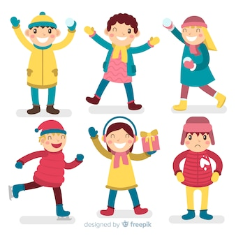 Coleção de personagens de crianças de inverno