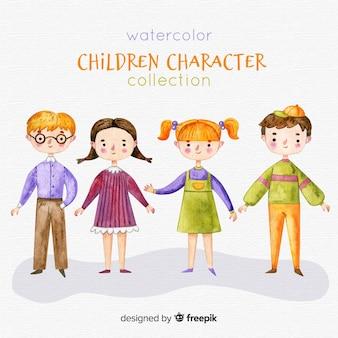 Coleção de personagens de crianças em aquarela