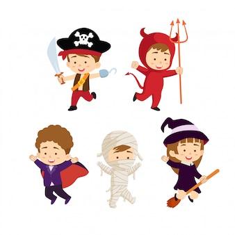 Coleção de personagens de crianças halloween