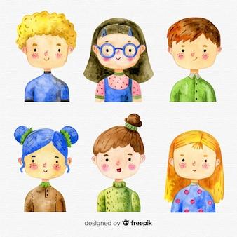 Coleção de personagens de crianças