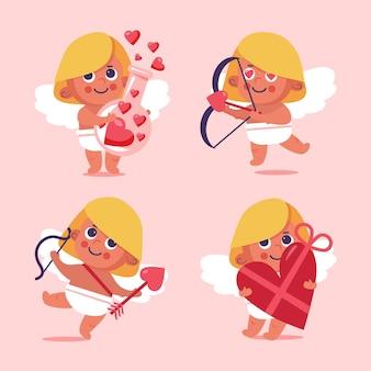 Coleção de personagens de cupido do dia dos namorados