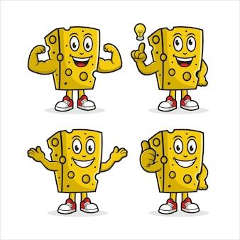 Coleção de personagens de desenho animado de queijo