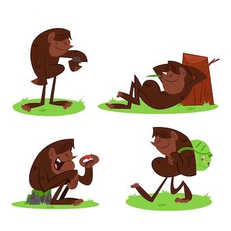 Coleção de personagens de desenhos animados bigfoot sasquatch
