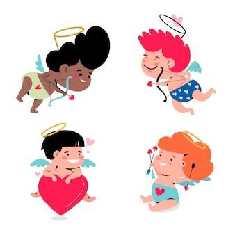 Coleção de personagens de desenhos animados cupido