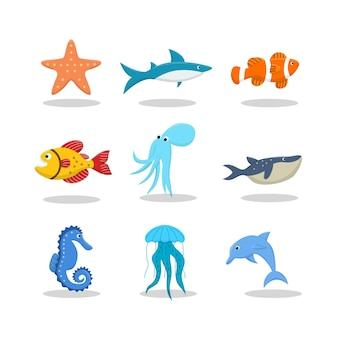 Coleção de personagens de desenhos animados de animais marinhos