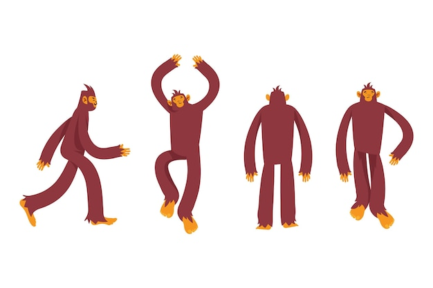 Coleção de personagens de desenhos animados de bigfoot sasquatch