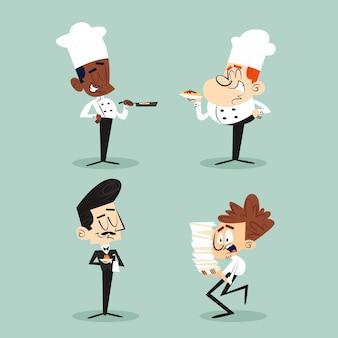 Coleção de personagens de desenhos animados retrô desenhados à mão com chefs