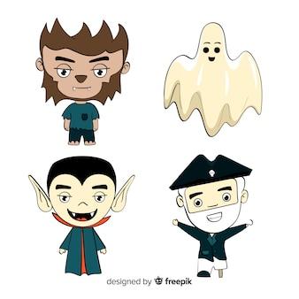 Coleção de personagens de desenhos animados sorridente