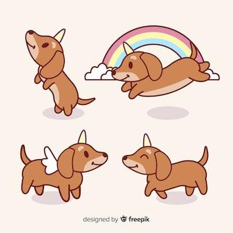 Coleção de personagens de doggycorn kawaii