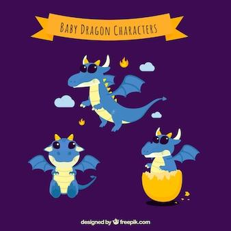Coleção de personagens de dragão bebê com design plano