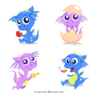 Coleção de personagens de dragão bebê em poses diferentes
