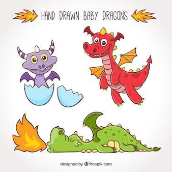 Coleção de personagens de dragão bebê