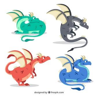 Coleção de personagens de dragão com design plano