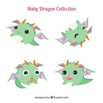 Coleção de personagens de dragão de bebês