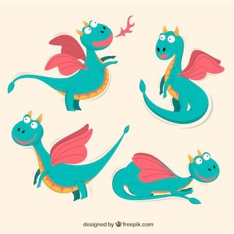 Coleção de personagens de dragão em poses diferentes