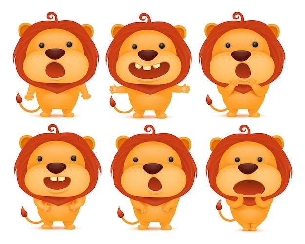 Coleção de personagens de emoticon engraçado leão em diferentes emoções.